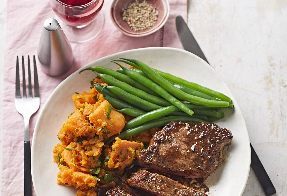 Tuscan steaks with crushed sweet potato