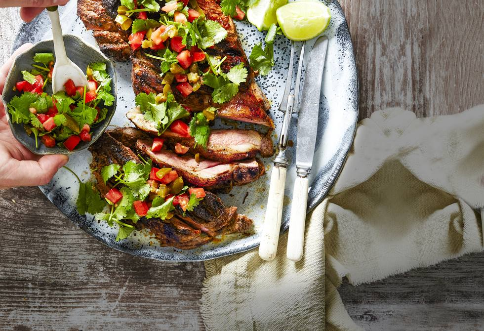 Mexican butterflied lamb with salsa
