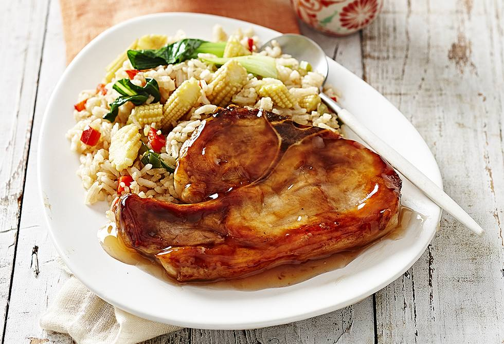 Plum pork chops with ginger fried rice