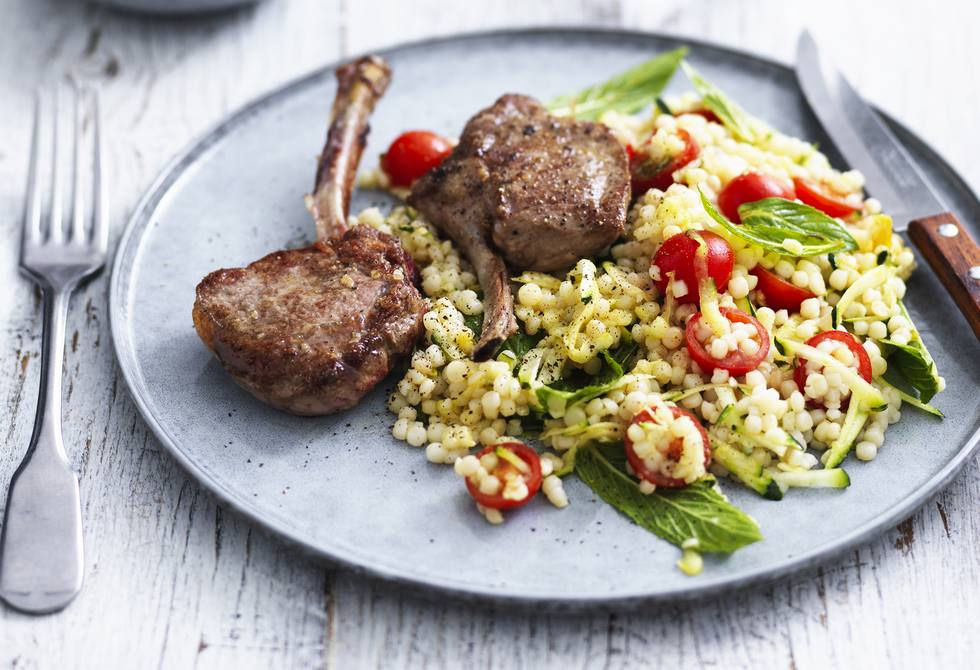 Lamb cutlets with pearl couscous salad