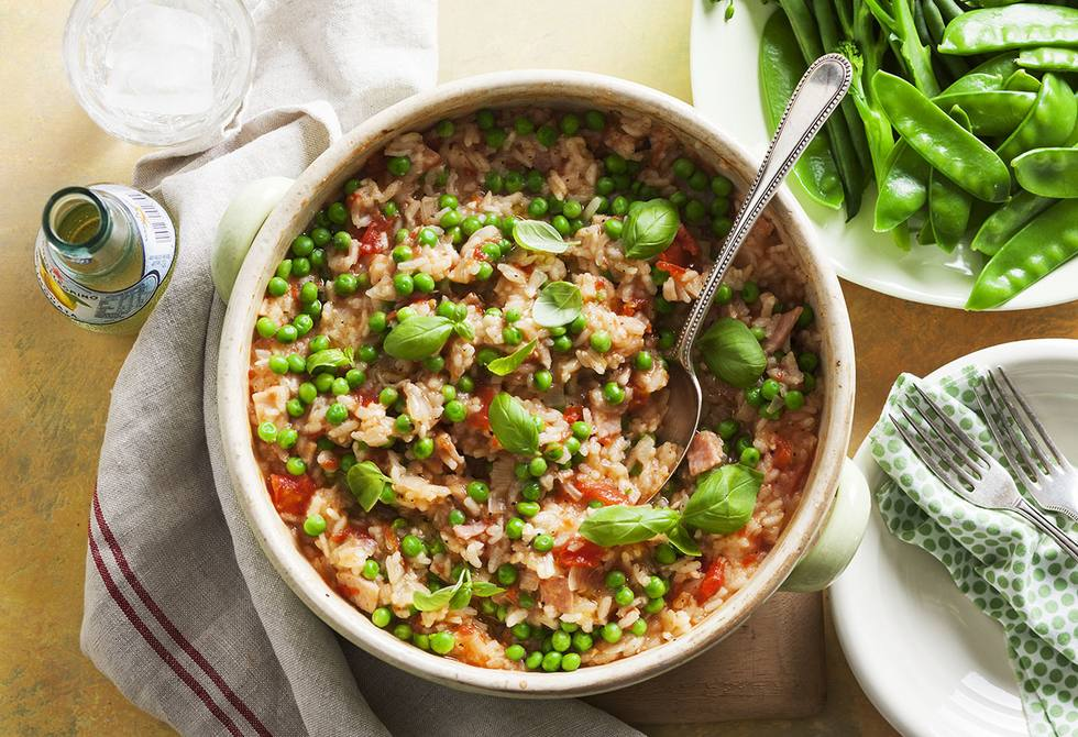 Oven baked tomato, bacon and pea risotto