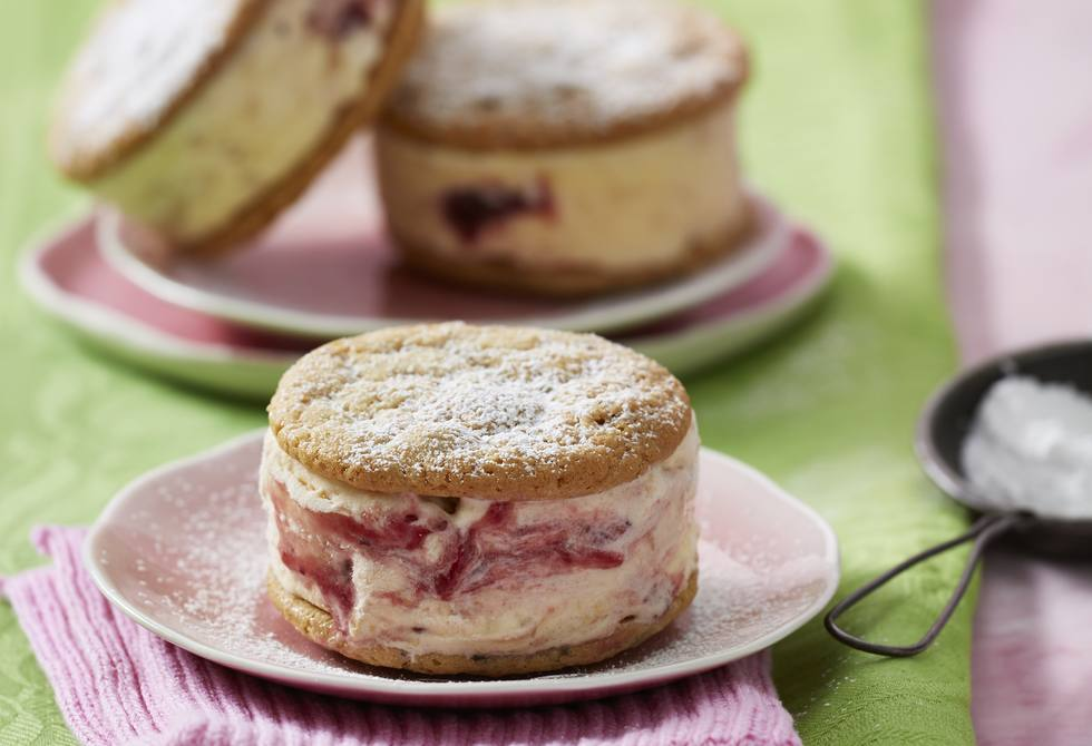 Peanut butter and jelly cookie ice-cream sandwiches Recipe ...