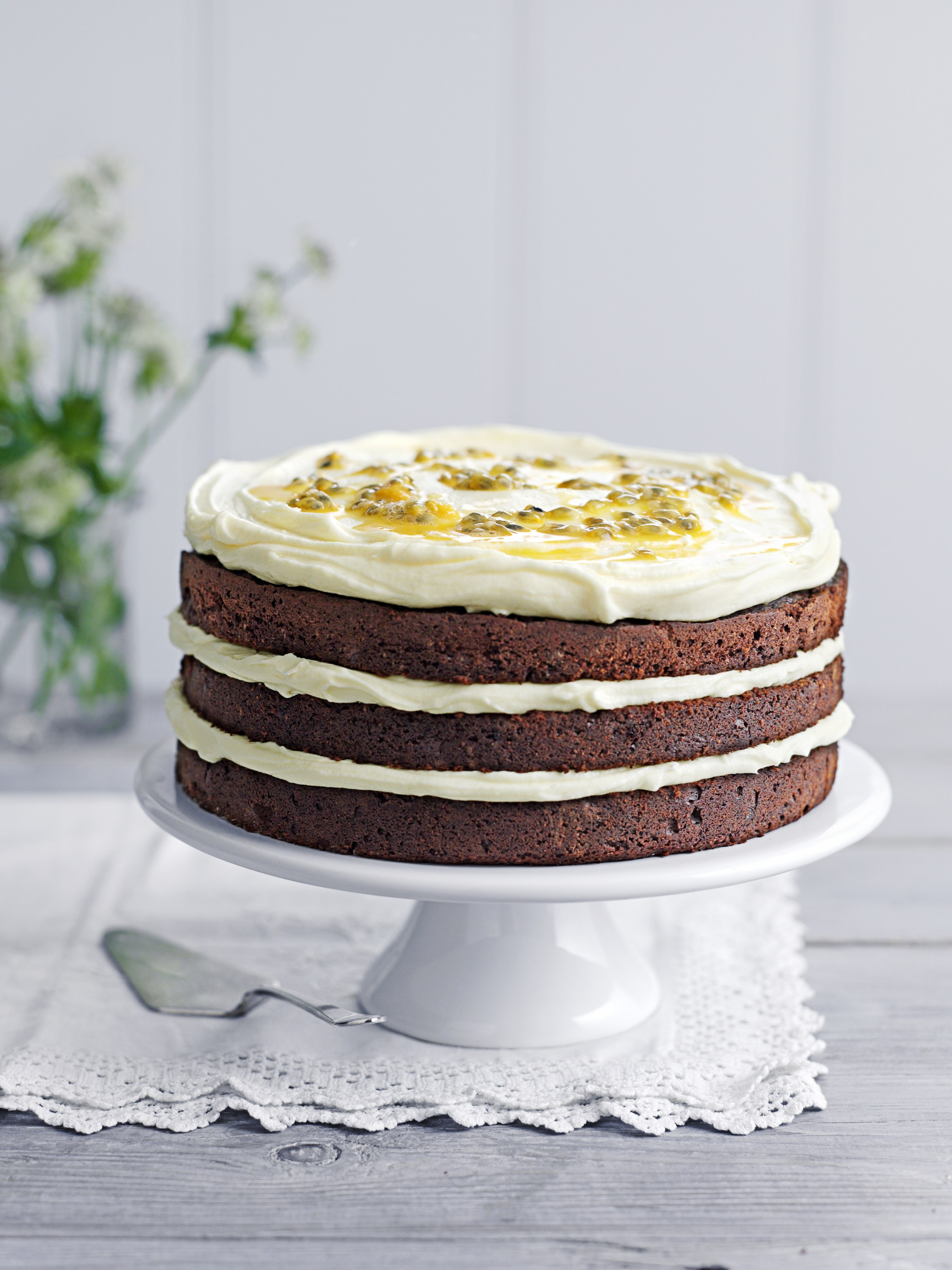 Jo Wheatley's chocolate layer cake with passionfruit icing