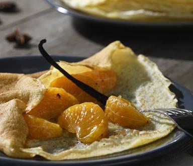 Crêpes sans gluten aux clémentines confites à la vanille