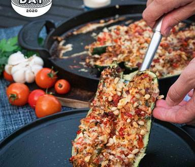 BBQ Stuffed Zucchini with Bacon and Garlic