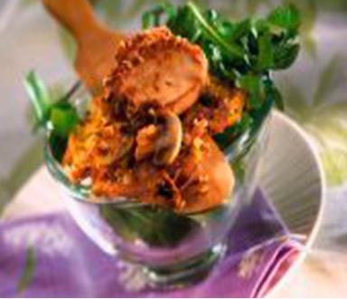 Galettes de pommes de terre et poulet doré