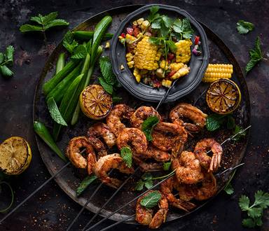 Cajun Prawns with Caramelized Sweetcorn