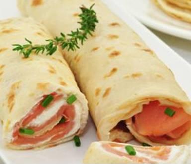 Crêpes roulées au saumon sans gluten