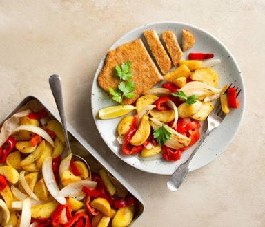 Schnitzel aux légumes au four