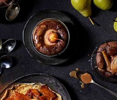 Chocolate And Spicy Pear Malva Pudding
