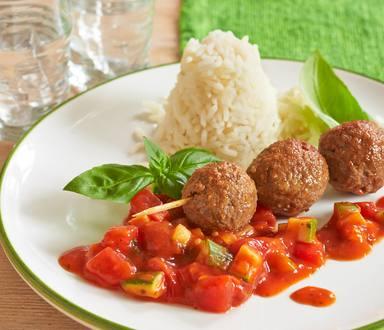 Vegetarischer Spieß mit Ohne-Hick-Hack Bällchen auf Tomatensugo
