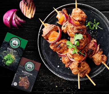 Barbecue Pork, Onion and Apricot Kebabs