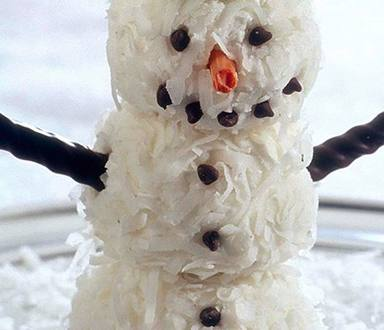 Muñeco de nieve hecho con helado