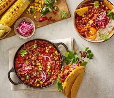 Une Fiesta Mexicaine: Chili Con Super Hâché avec Tacos