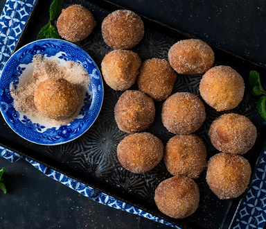 Amagwinya (Koeksisters or Doughnuts) With Caramel Glaze Coconut & Cinnamon Dust