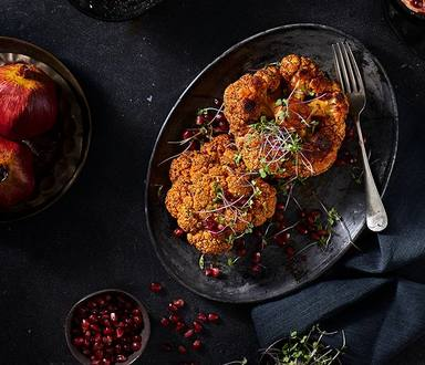 Spicy Oven Roasted Cauliflower With Harissa Yoghurt