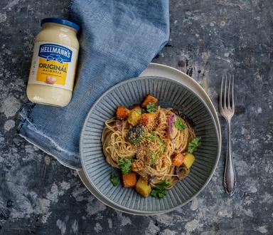 Citrónové špagety s pečenou zeleninou