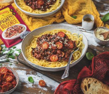 SPAG BOL WITH SLOW ROASTED CHERRY TOMATOES - VEGAN