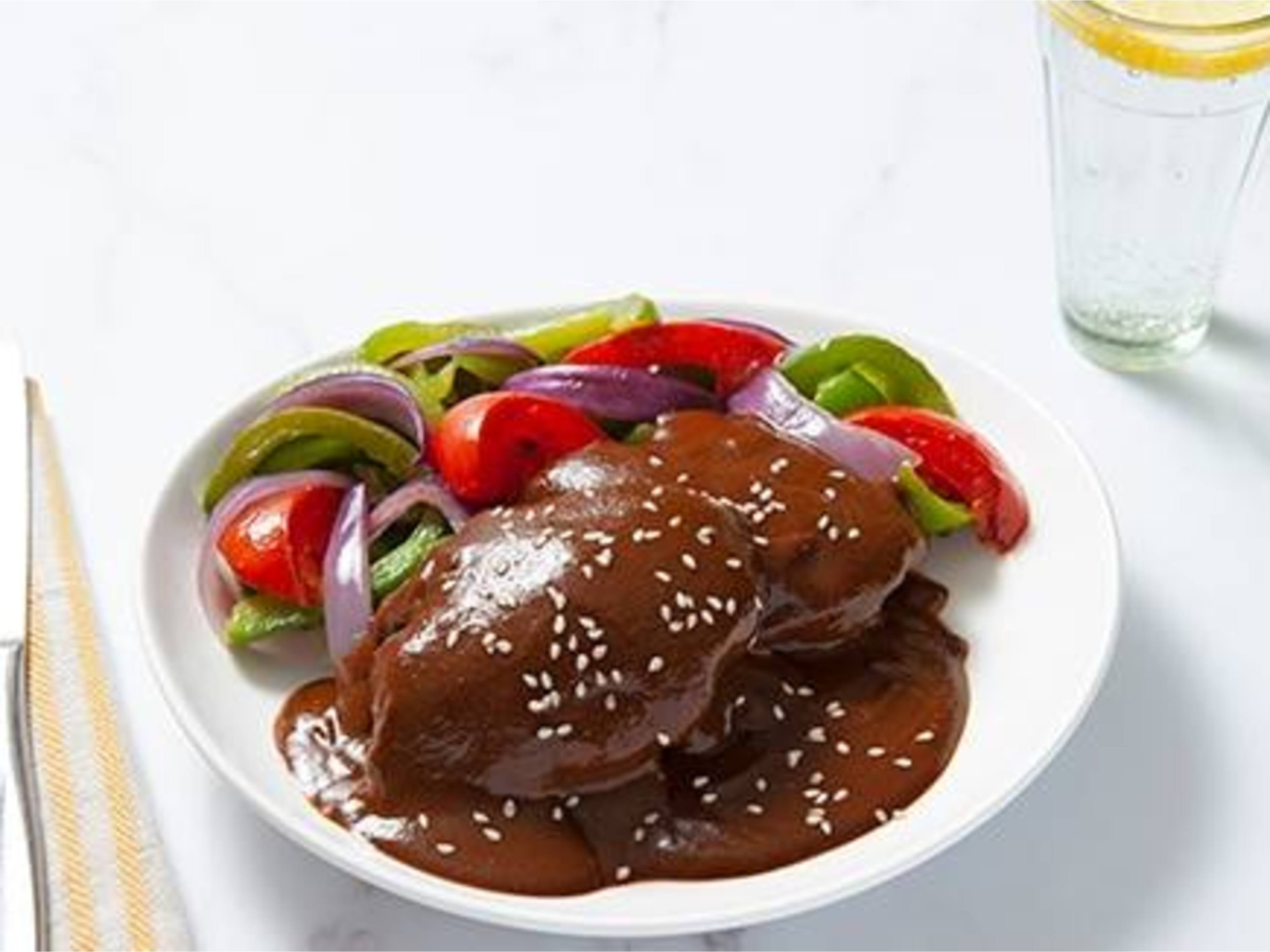 Chicken Mole with Sautéed Vegetables