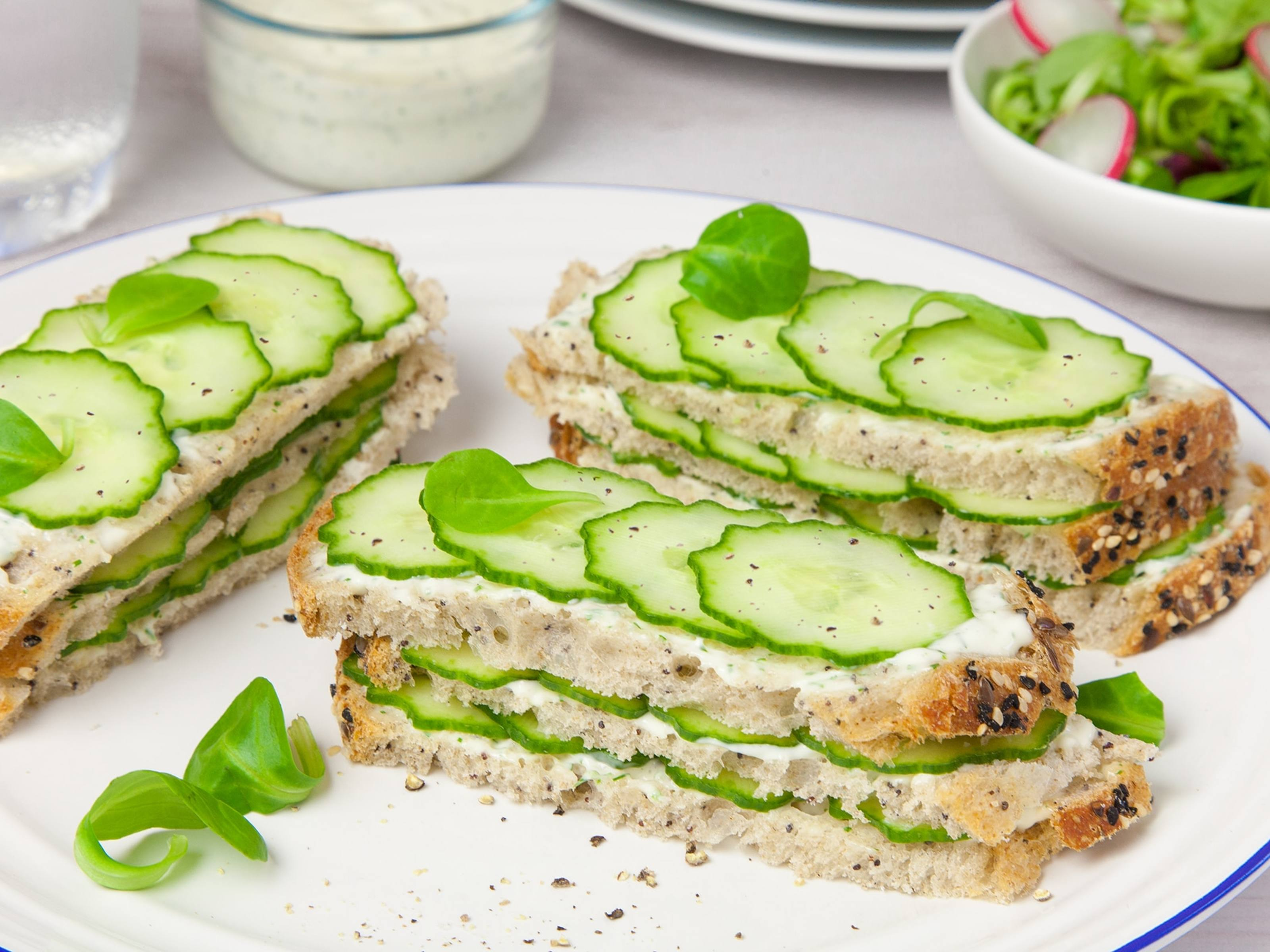 Cucumber Sandwiches with Lime-Cilantro Mayonnaise