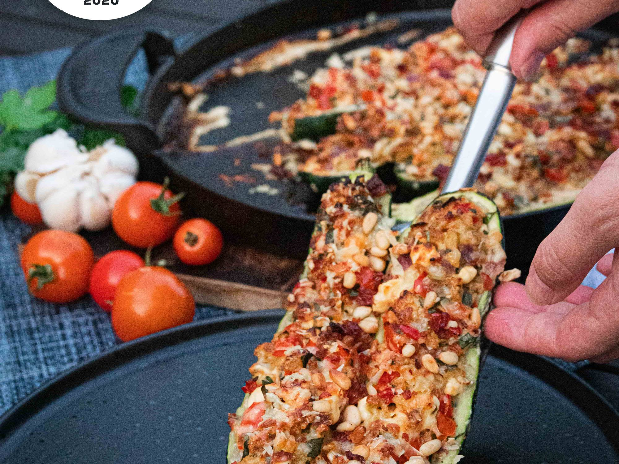 BBQ Stuffed Zucchini with Bacon and Garlic
