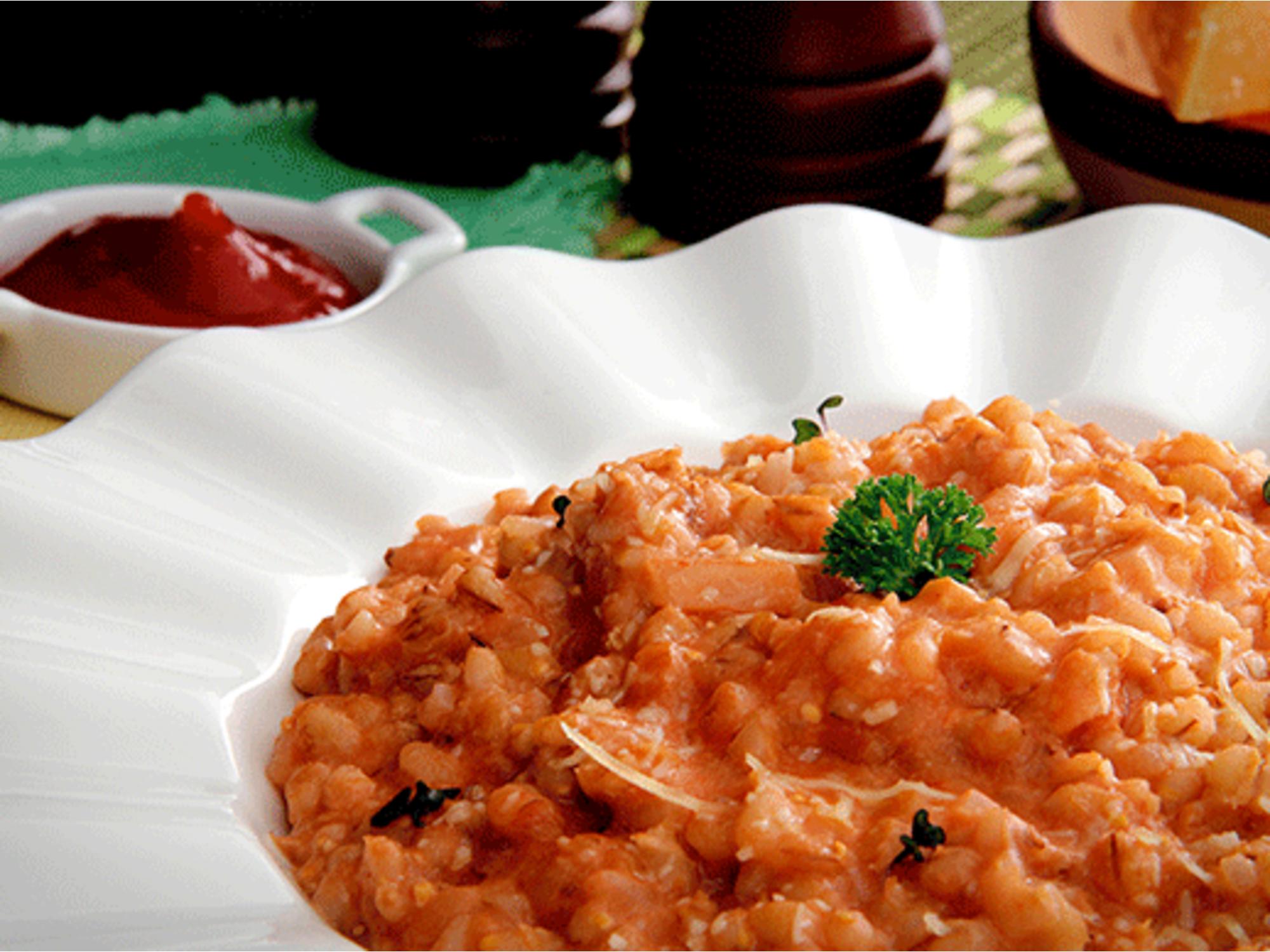 Risotto rojo de Cebada con Salsa de Tomate Fruco