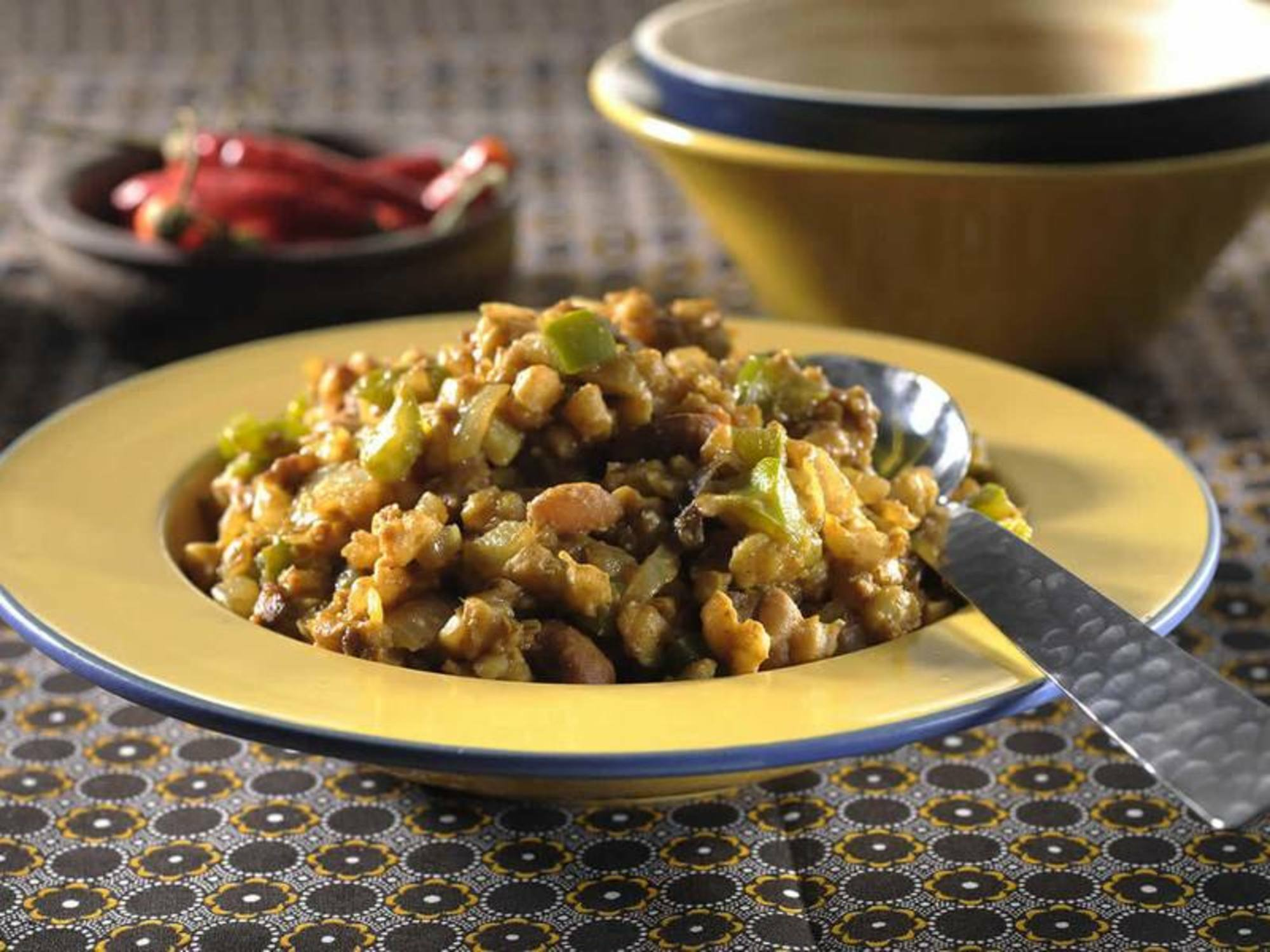 Spicy Soya Mince with Samp Beans