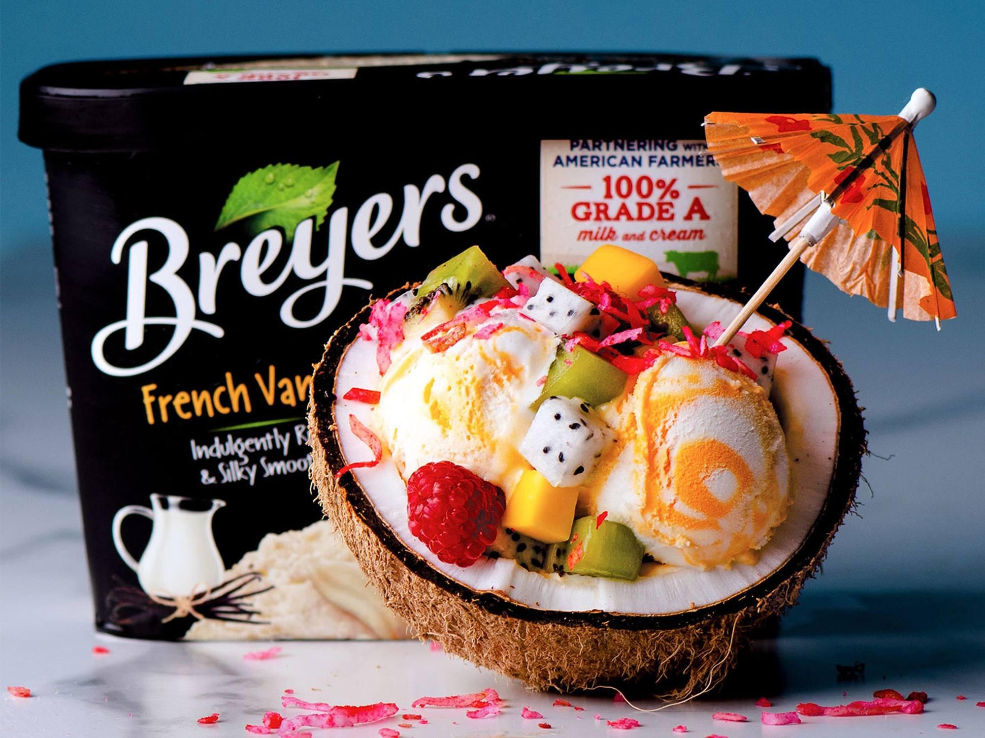 Tropical Coconut Shell Ice Cream Sundae