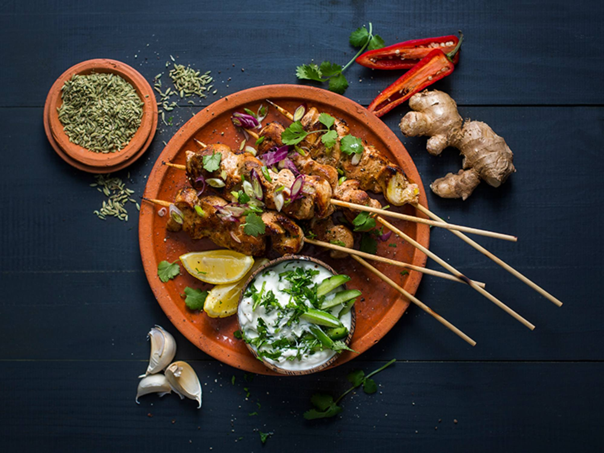 Curry and Yoghurt Marinated Chicken Skewers