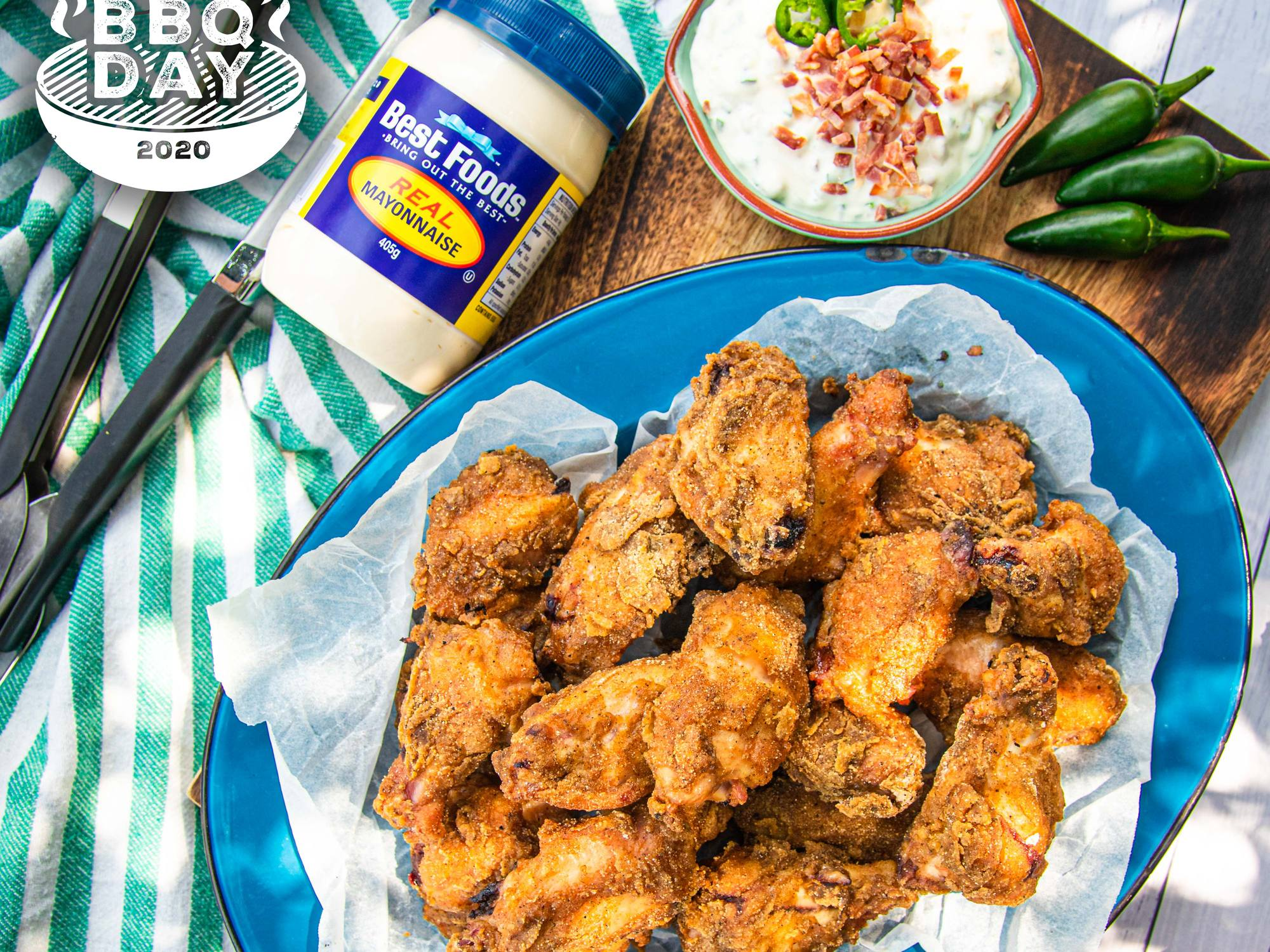 BBQ Kettle Fried Chicken with Bacon and Jalapeno Dip