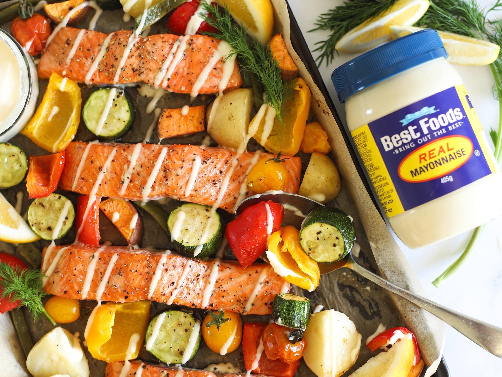 Salmon and Veggie Tray Bake | Hellmann's NZ