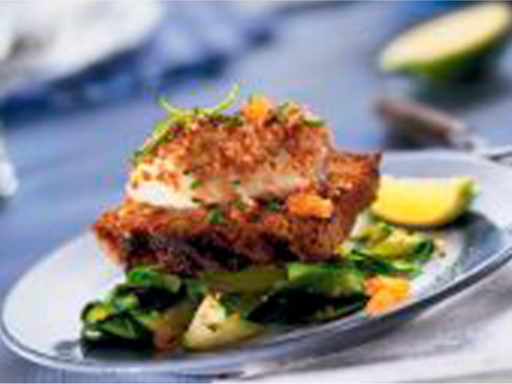 Filet de poisson au sésame et au pain d'épices