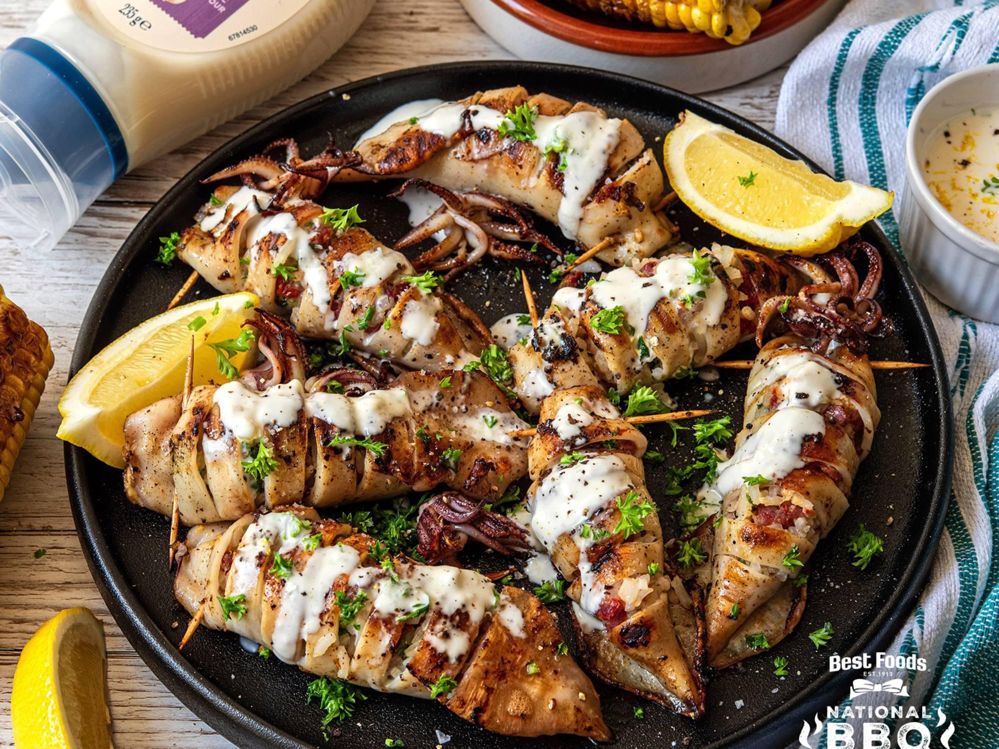 Stuffed BBQ Squid with Garlic Aioli