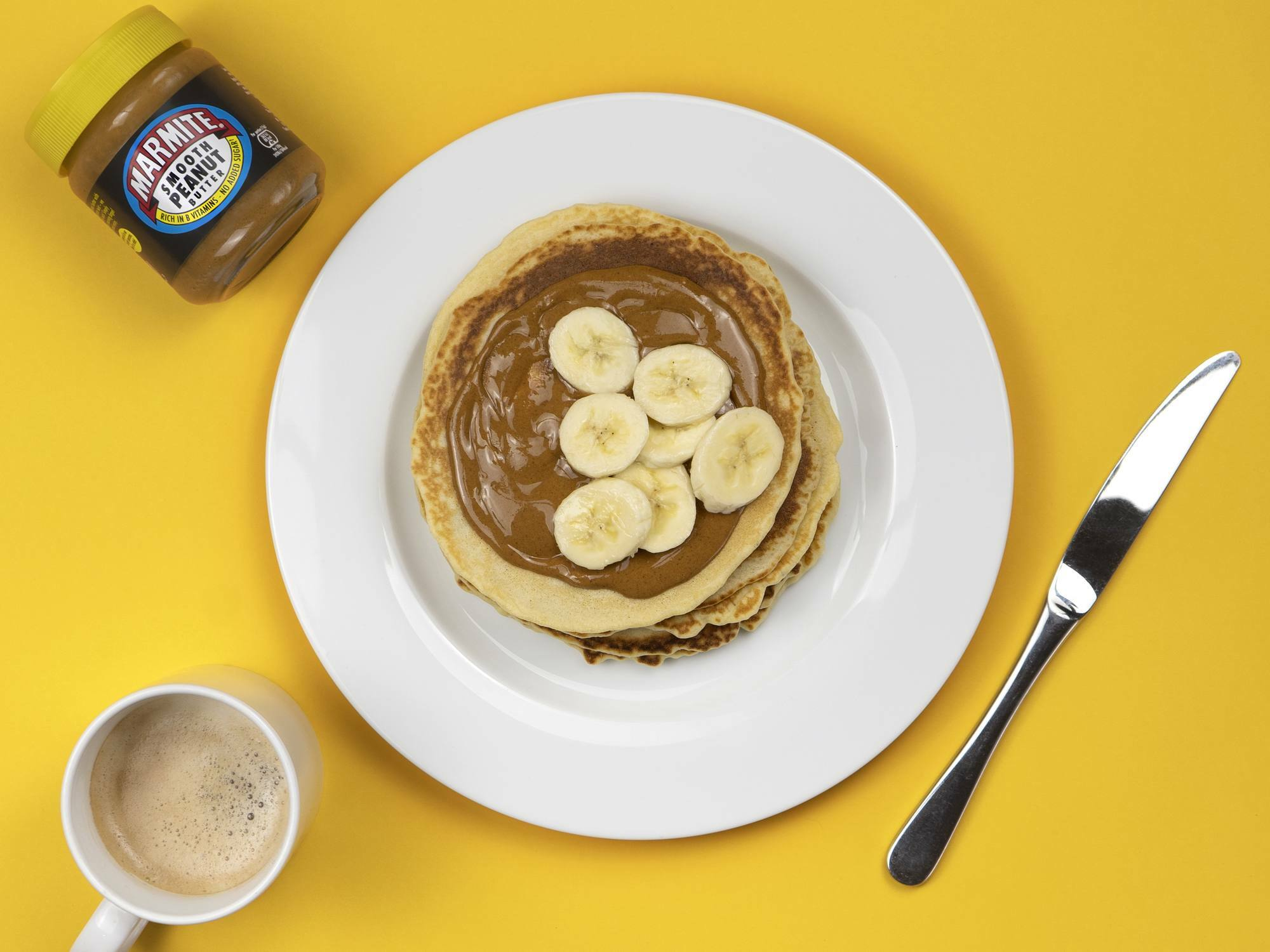 Marmite & Peanut Butter American Pancakes with Blueberries & Banana