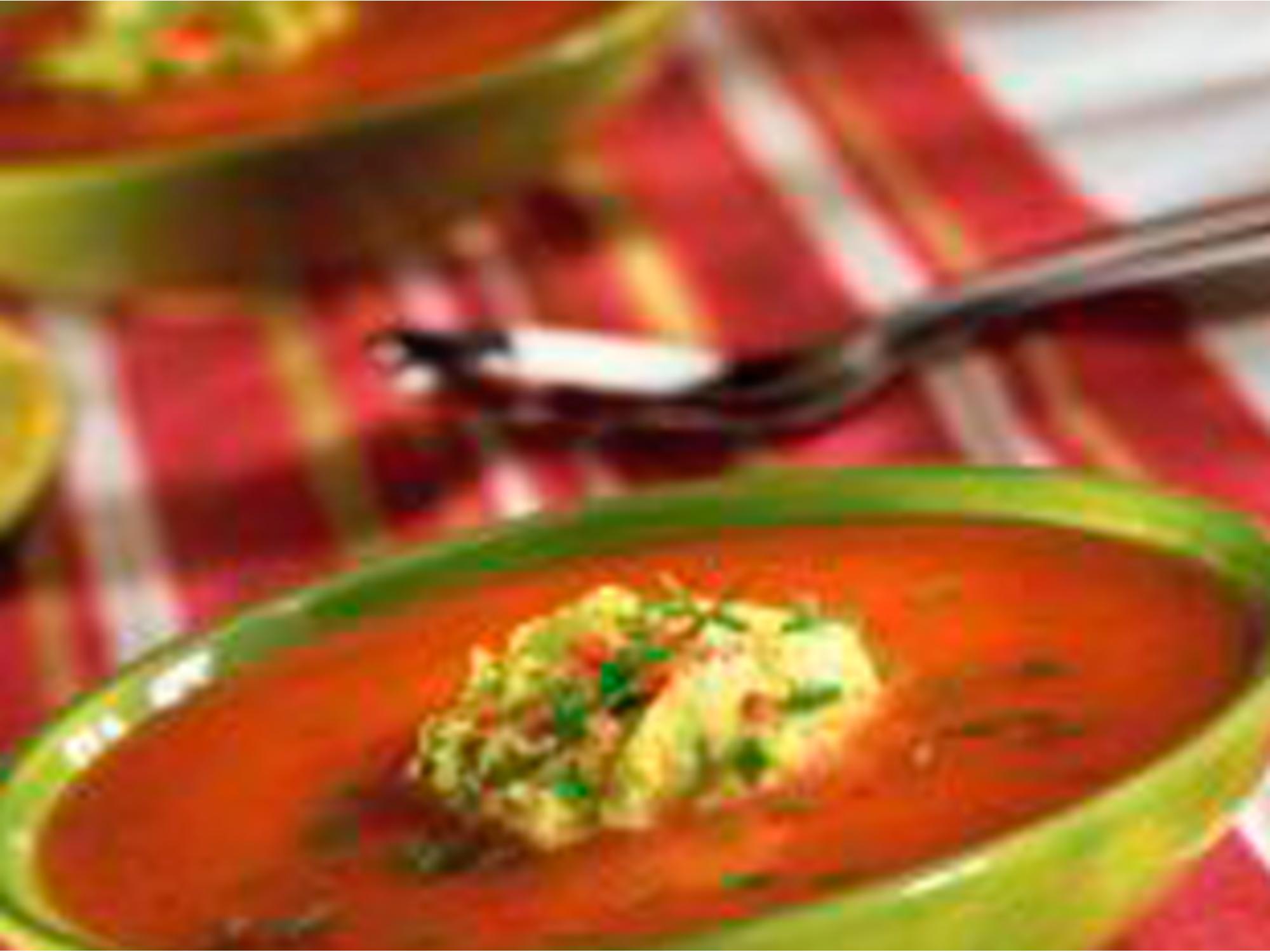 Gaspacho de tomates et crème d'avocats