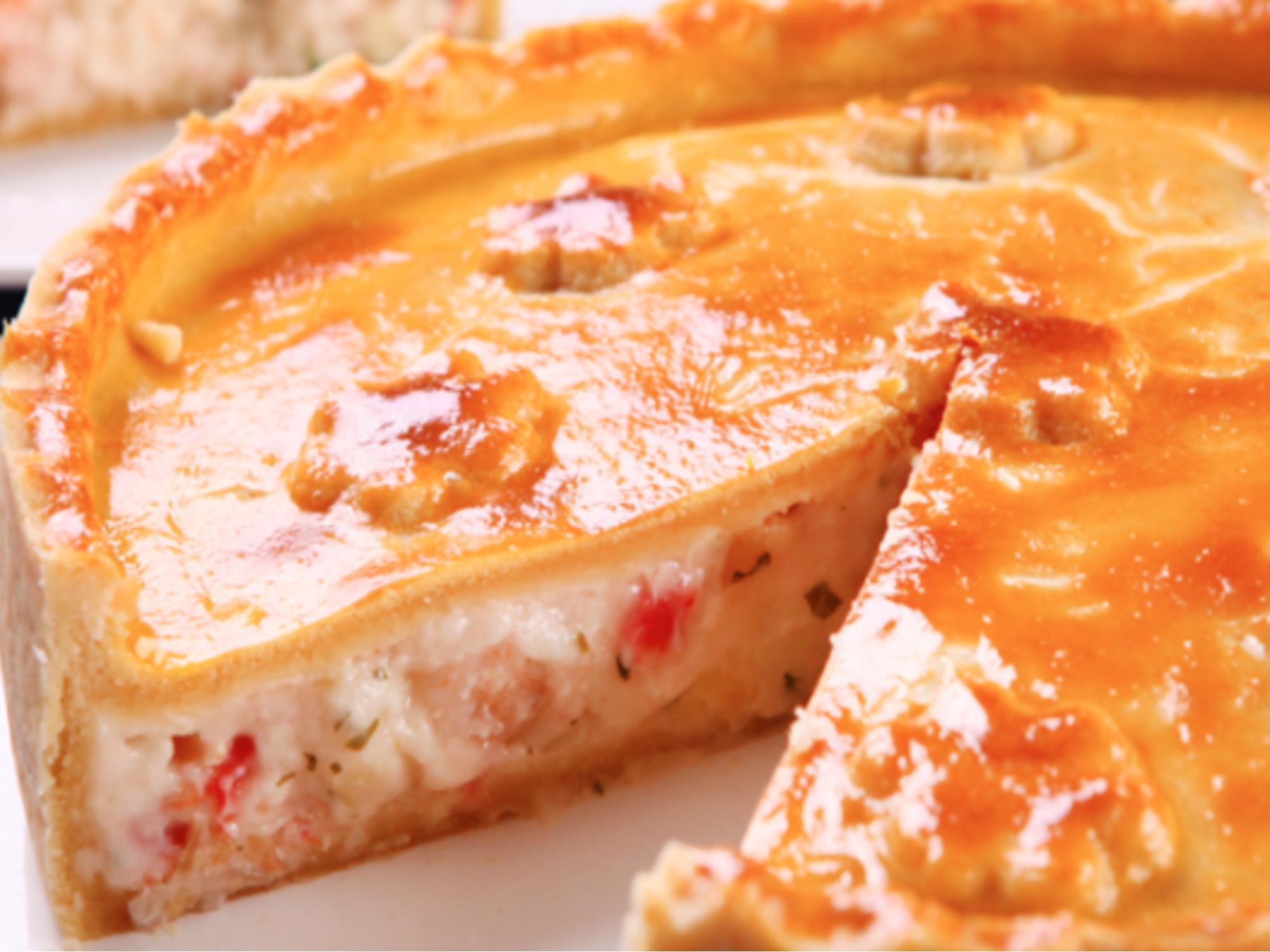 Torta de palmito com camarão