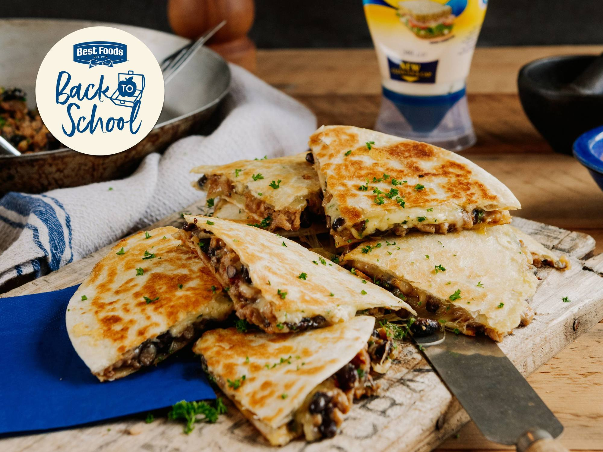 Crispy Pork Sausage & Black Bean Quesadilla | Hellmann's NZ