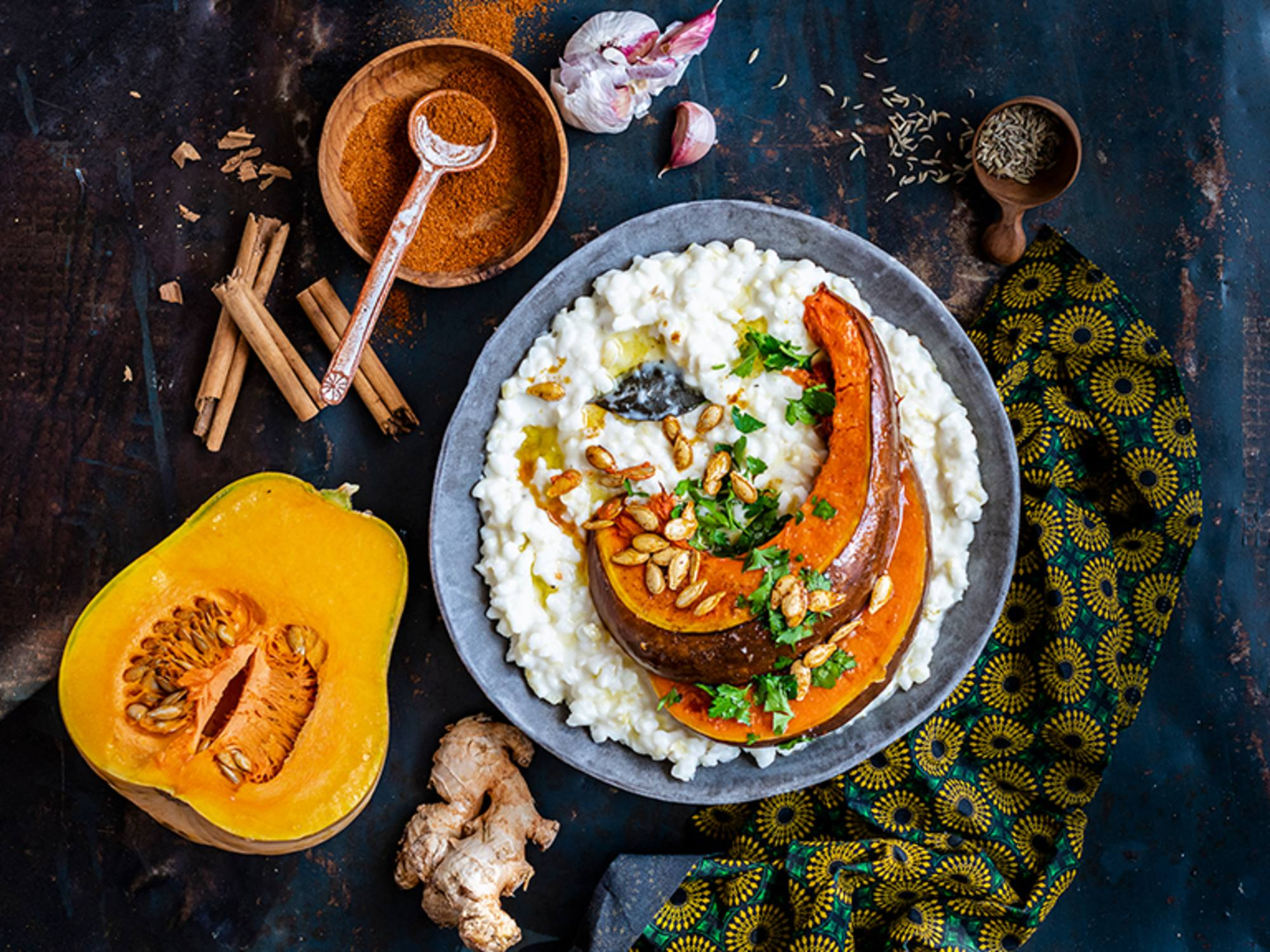 Masala-Roasted Pumpkin with Creamy Samp