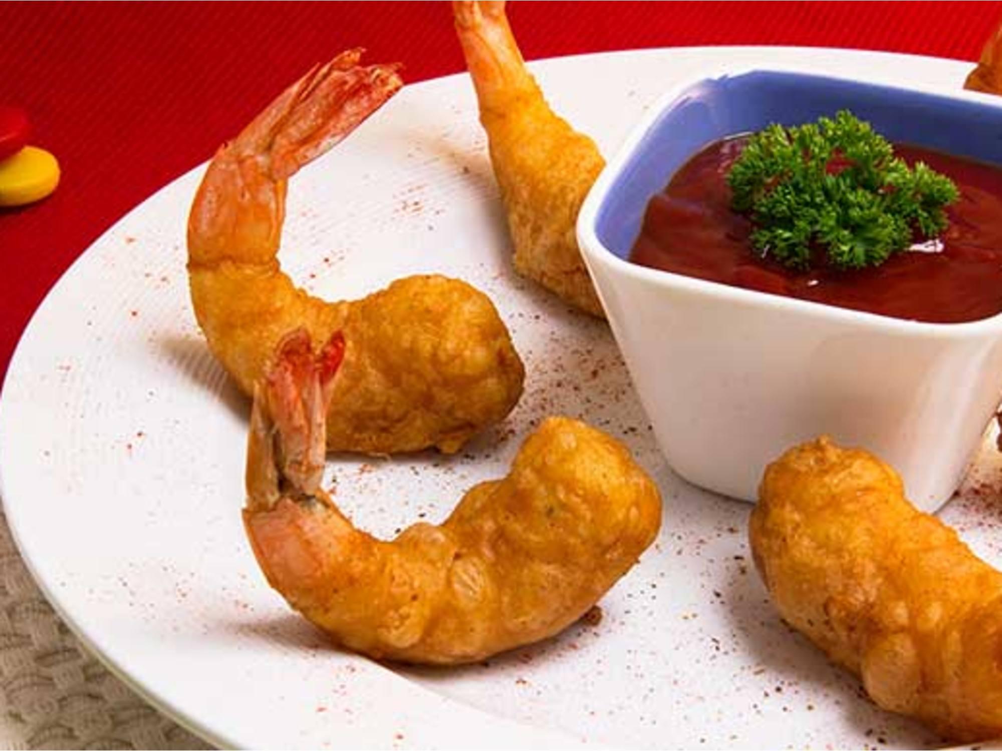 Langostinos tempura con Salsa Tártara Fruco