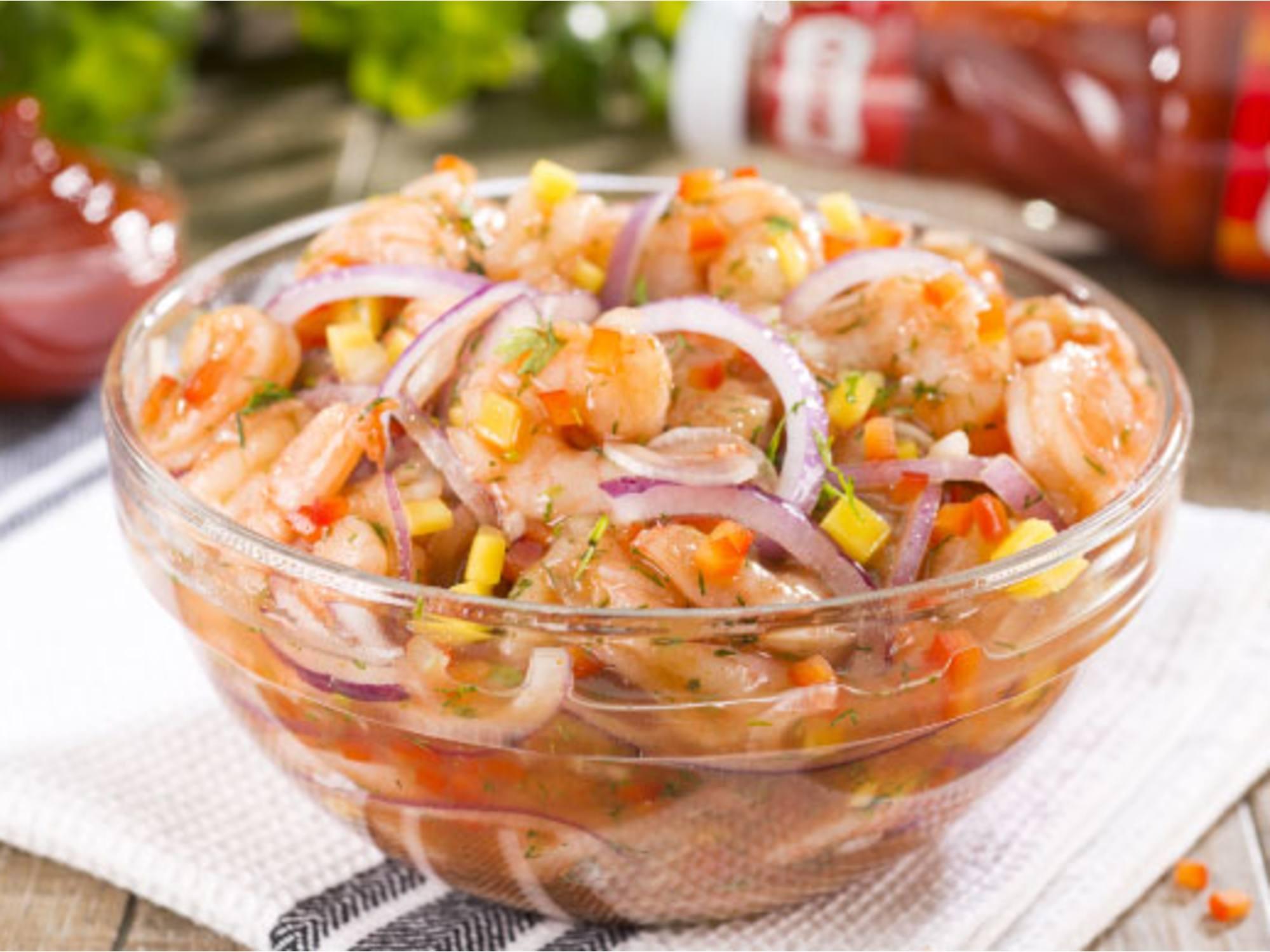 Ceviche de Camarón con Salsa de Tomate Fruco®