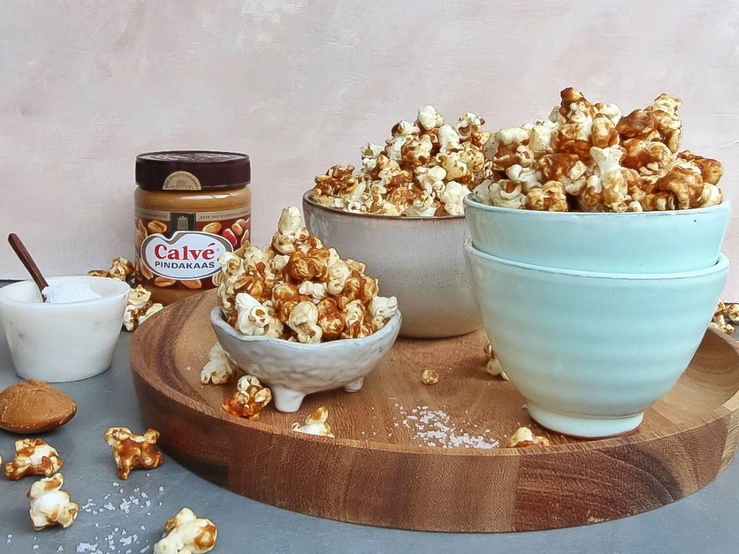 popcorn met pindakaas en karamel zeezout