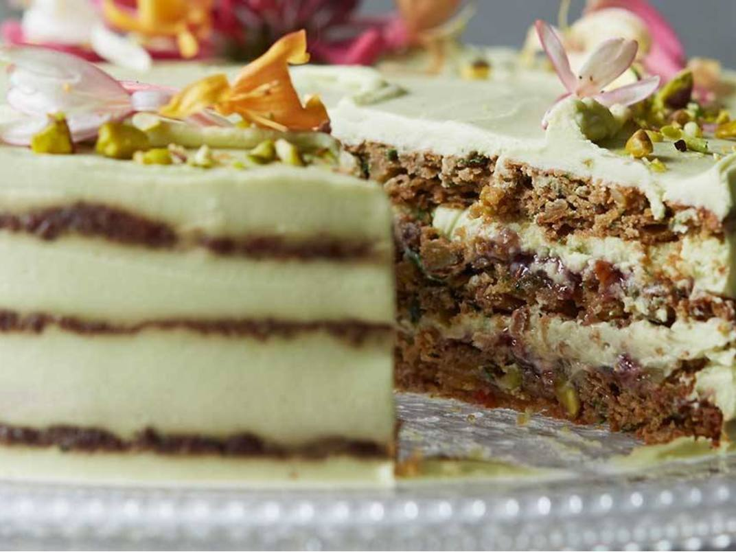 Courgette, Basil, Lime And Pistachio Cake