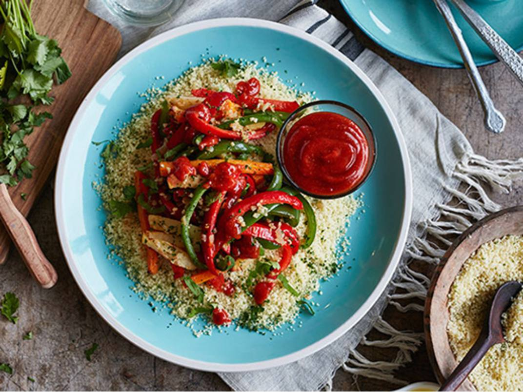 Roasted Vegetables on Couscous with Harissa Sauce