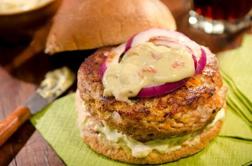 Turkey Burgers with Pesto and Roasted Red Pepper Sauce