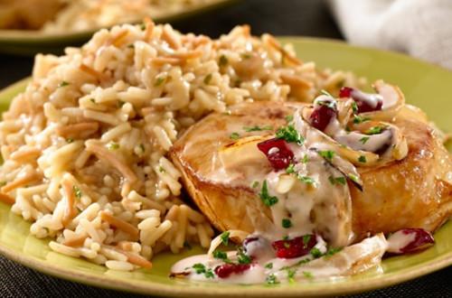 Cranberry Glazed Pork & Mushroom Rice