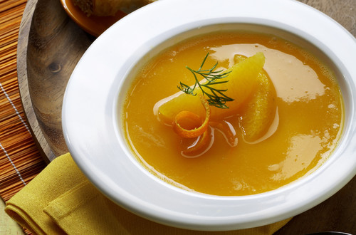 Rüeblicremesuppe mit Orange
