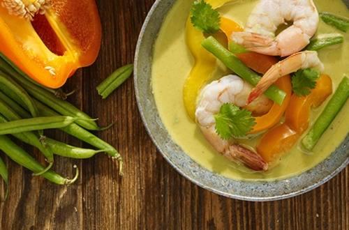 Crevettes au Curry Vert Thaï