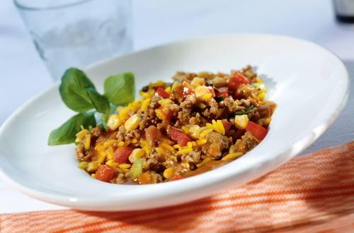 Bunte Gemüse-Reispfanne mit Faschiertem