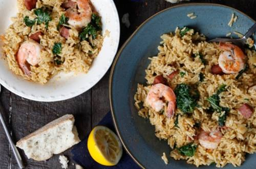 Creole Rice with Sausage, Greens & Shrimp