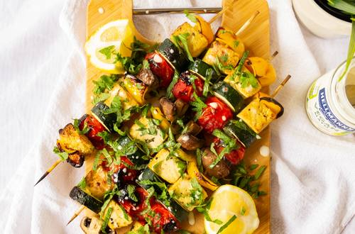 Greek Vegetable Kebabs with Tofu Halloumi